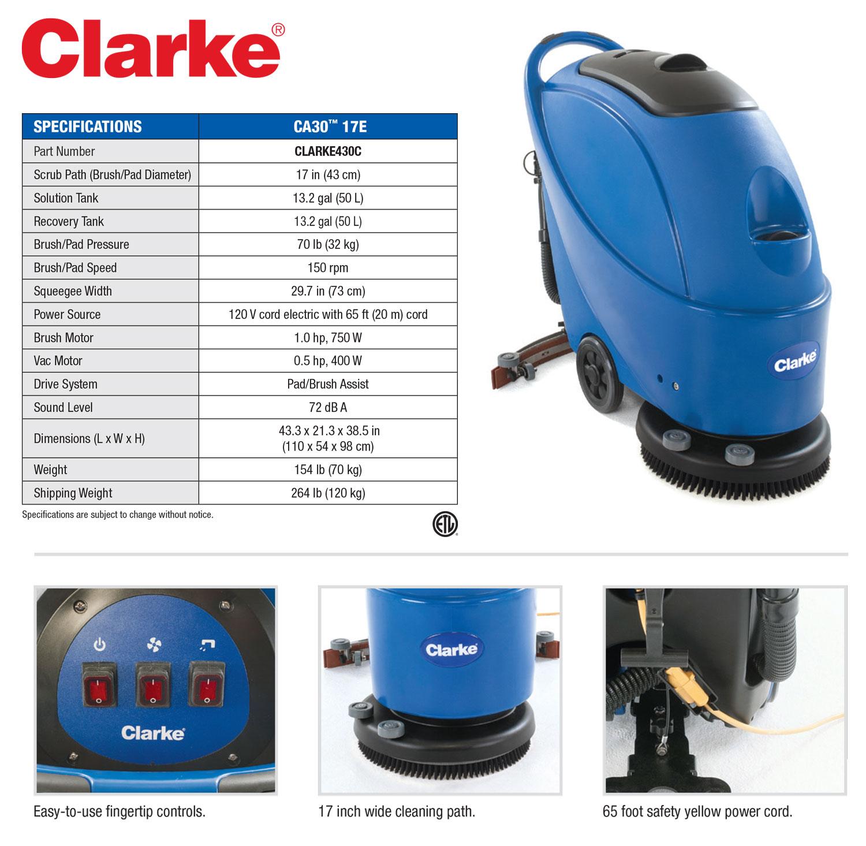 Clarke Ca30 17e 66 Cord Electric Floor Scrubber